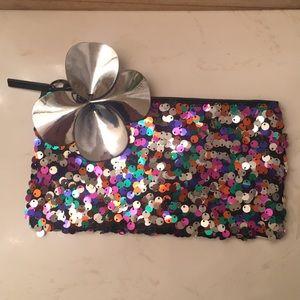 MAC sequin cosmetic bag